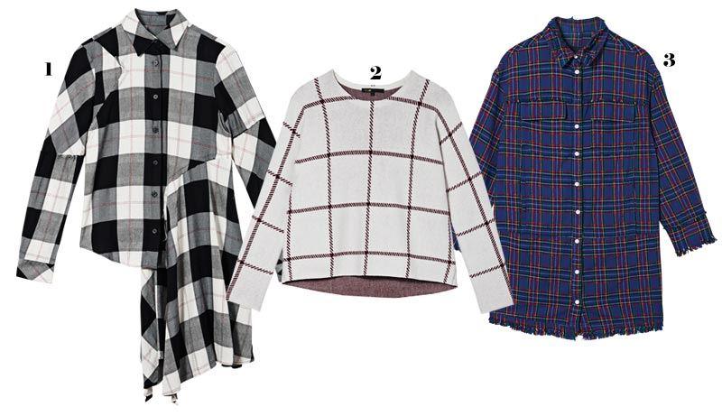 1. 면과 레이온 소재 셔츠는 53만원, MM6.  2. 아크릴과 울 소재 스웨터는 36만9천원, 마쥬(Maje).  3. 면 소재 셔츠는 21만8천원, SJYP.