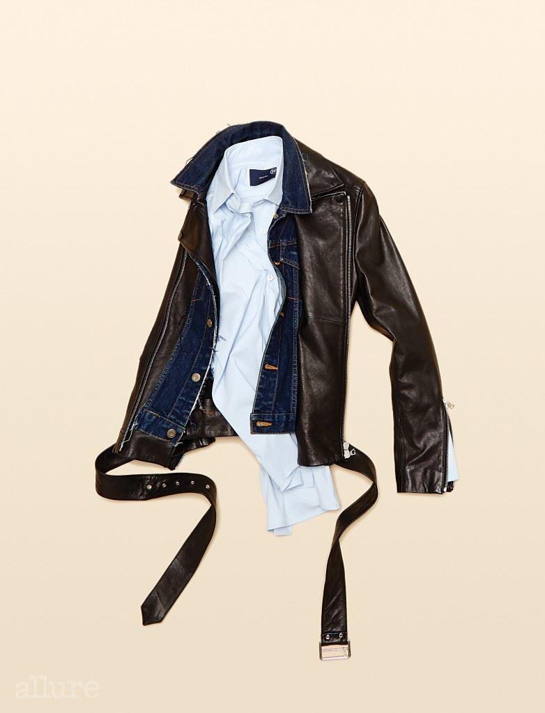양가죽과 데님 소재 라이더 재킷은 가격미정, 노앙(Nohant). 면 소재 셔츠는 18만7천원, 렉토(Recto).