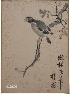 김홍도, 화조도, 수묵채색화, 32.5×23.8cm, 성호기념관 소장