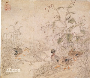 신사임당, 노화수금도, 23.6×27.3cm, 국립중앙박물관 소장