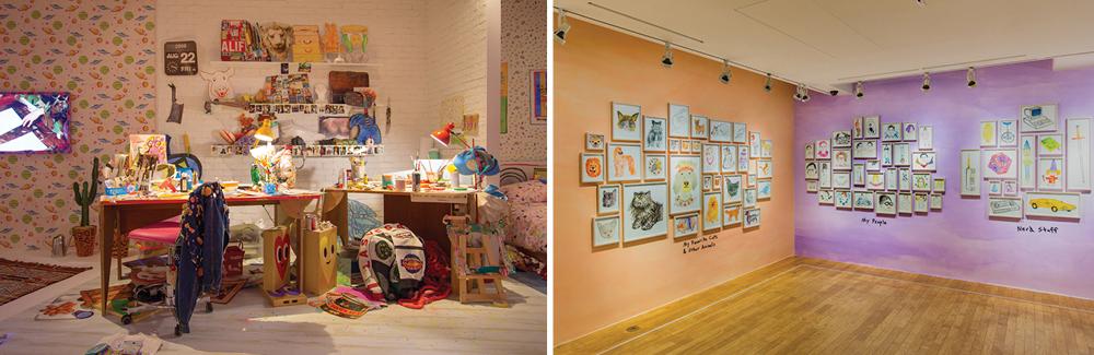 실제 토드 셀비의 방을 재현한 전시 공간과 그의 일러스트가 전시되어 있는 공간.