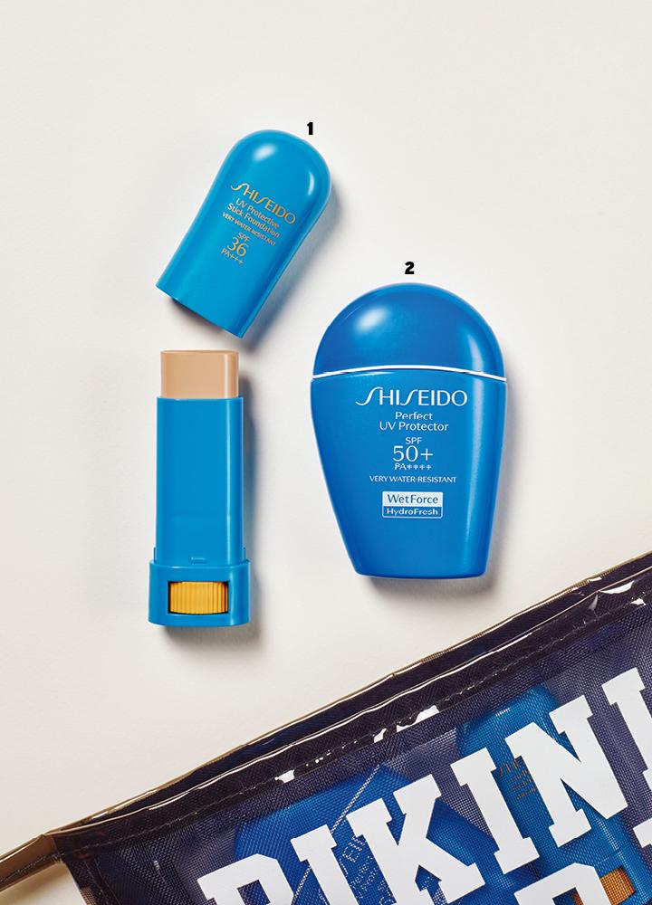 1 시세이도의 파란자차 H(퍼펙트 UV 프로텍터 H SPF50+ PA++++). 50ml 5만8천원대. 2 시세이도의 파란스틱(UV 프로텍티브 스틱 파운데이션 SPF36 PA+++). 9g 3만8천원대
