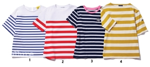 1 면 소재 티셔츠는 10만8천원, 럭키슈에뜨(Lucky Chouette). 2 레이온 소재 티셔츠는 17만8천원, 라코스테(Lacoste). 3 면 소재 티셔츠는 10만8천원, 세인트 제임스(Saint James). 4 면 소재 티셔츠는 8만9천원, 앳코너(A.T.Corner).