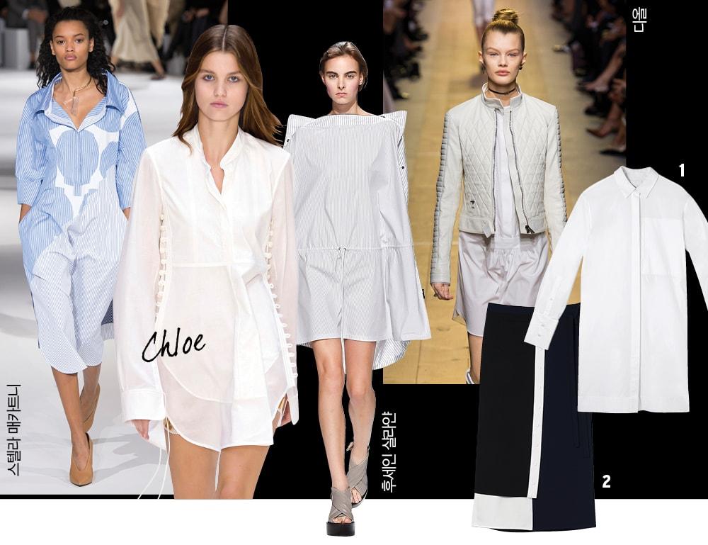1 폴리에스테르 소재 랩 스커트는 18만7천원, 렉토(Recto). 2 면 소재의 화이트 셔츠 드레스는 55만5천원, DKNY.