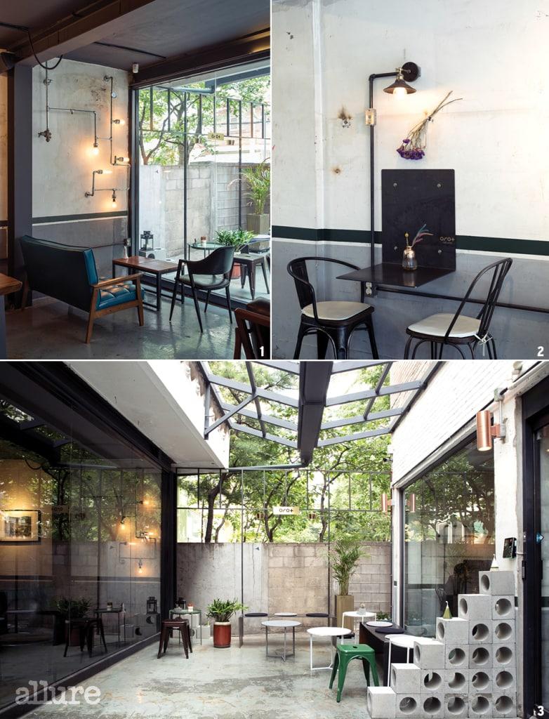 1 인쇄 공장의 흔적이 곳곳에 남아 있는 카페 내부. 2 그을림이나 못자국 등을 지우지 않고 그대로 둔 벽. 3 두 공간을 잇는 작은 마당.