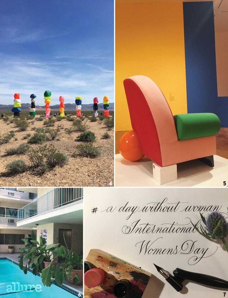 4 캘리포니아의 태양 아래 더욱 빛나는 우고 론디노네의 설치 미술, 매직 마운틴. 5 MOCA에서 열린 LA 출신 작가 피터 샤이어의 전시 작품은 밝은 색이 지닌 에너지를 전한다. 6 현관 문을 열면 보이는 아파트 로비의 야외 수영장. 7 나의 캘리그래피 이미지.