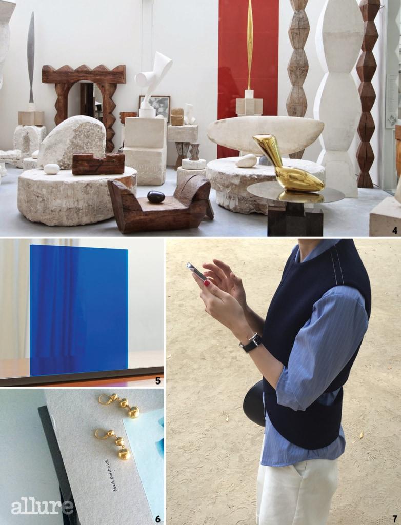 4,6 단순함의 아름다움이 담긴 콘스탄틴 브랑쿠시의 작품과 그의 작업을 닮은 세린느의 주얼리.  5 패션 사진가이자 파인 아트 작가인 김형식의 모던한 사진 작업. 7 가장 좋아하는 블랙과 화이트, 네이비 컬러의 심플한 옷들.