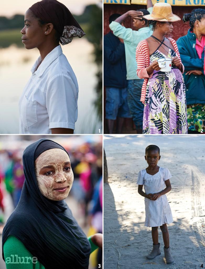 1 보츠나와의 로지에서 일하는 여자. 2 마다가스카르의 도시에서 만난 임신한 여성. 발은 맨발이었지만 머리에 쓴 모자가 우아했다. 6시 반에 해가 뜨면 일을 시작하는데, 일하기 전 커피를 마시고 있다. 3 선스크린 역할을 하는 팩. 머리에 쓴 것은 종교와 관련이 있다. 4 보츠나와에서 아프리카 기념품을 파는 곳에 서 있는 한 소녀를 담았다. 하얀 드레스에 어그 부츠 패션이 독특했다.