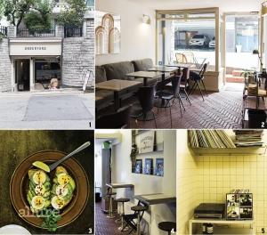 1 주택의 마당 아래 자리한 언더야드. 2 벽돌로 마감한 바닥. 3 대표 메뉴인 아보카도 오픈 샌드위치. 4,5 좁은 내부를 효율적으로 활용했다.