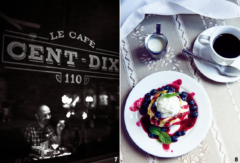 1 이타카의 르 카페 상디에서의 저녁. 2 엘더베리 폰드 팜 레스토랑의 레몬과 블루베리를 곁들인 디저트.