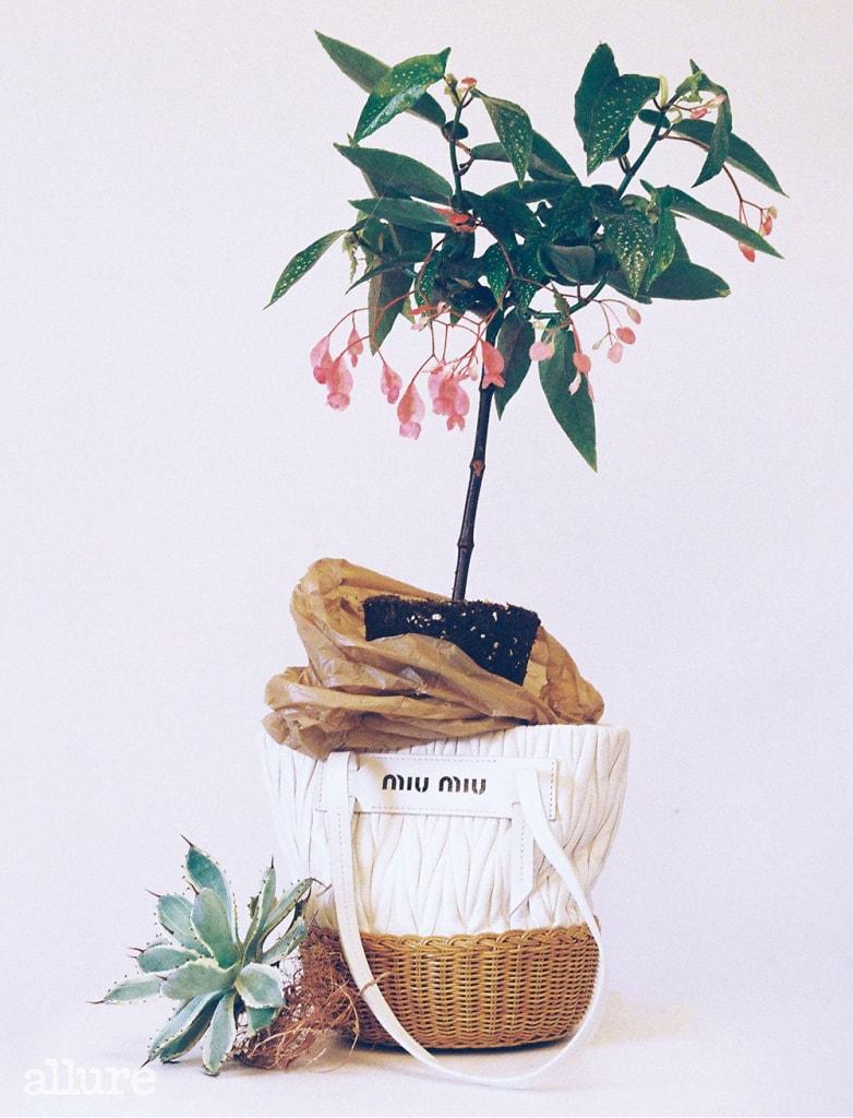 라탄 소재를 더한 바스킷 백은 미우미우(Miu Miu).