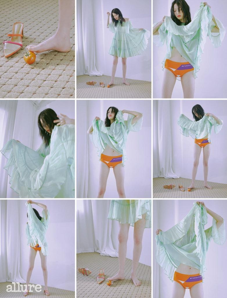 연두색 러플 드레스는 블루마린(Blumarine), 주황색 브리프는 미우미우, PVC 소재 뮬은 렉토.