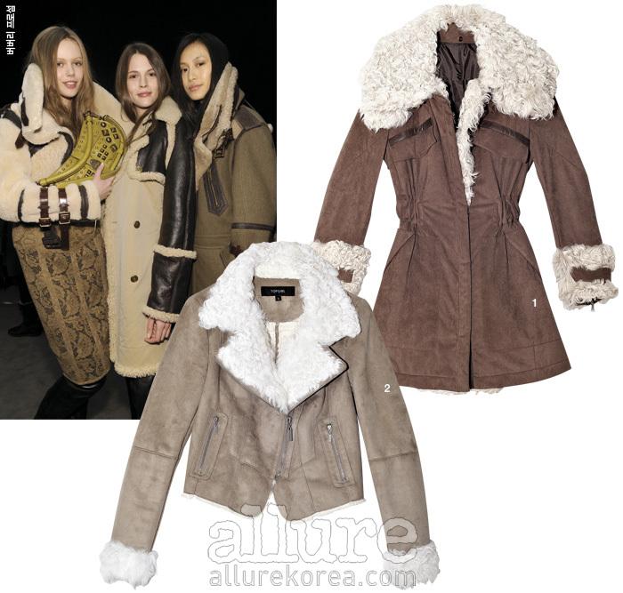 1. 스웨이드와 양털 소재의 무스탕 코트는 가격미정,타임(Time). 2. 스웨이드 무스탕 재킷은 19만9천원, 탑걸(Top Girl).