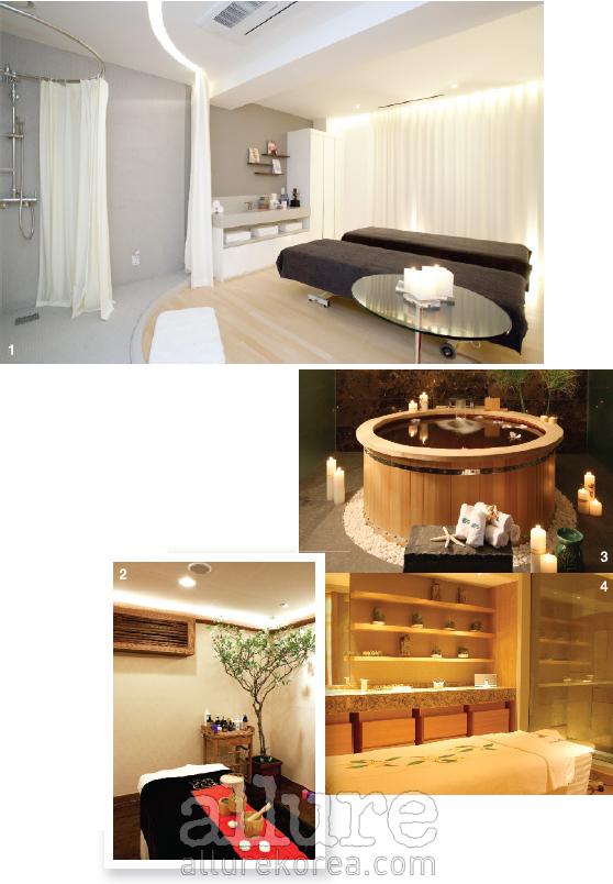 1 어반 스파의 커플 트리트먼트 룸. 2 자연적인 인테리어를 특징으로 하는 스파 에코의 트리트먼트 룸. 3 로맨틱한 욕조가 마련되어 있는 반얀트리 스파. 4 메리어트 이그제큐티브 아파트먼트 서울에 위치한 수 스파.