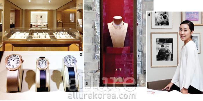1, 3 까르띠에의 아름다운 주얼리를 볼 수 있는 메종 까르띠에. 2 베누아 라인의 시계 컬렉션.4 미네타니의 디자이너 김선영.