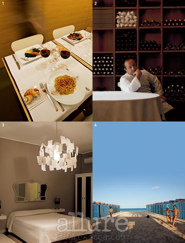 1 페로 레스토랑에서의 식사. 2 라구사에서 두오모 레스토랑을 운영하는 치치오 술타노 셰프. 3 세련된 감각이 도보이는 B&B, BB22의 객실. 4 도심 외곽에 있는 몬델로의 비치 헛.