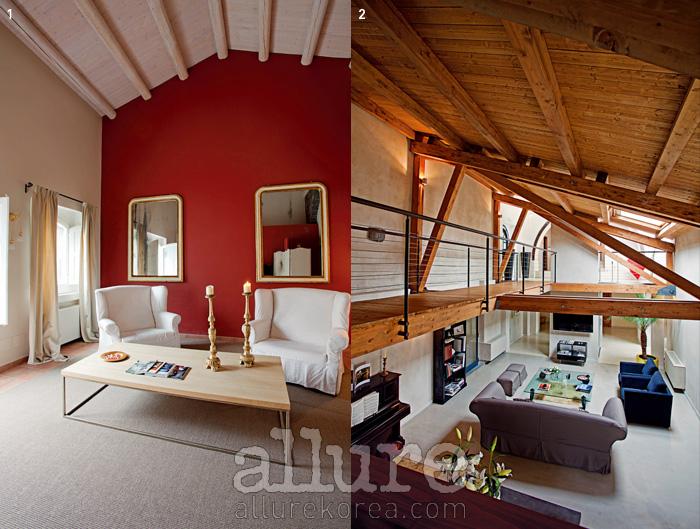 1 카사 카르치체라의 객실. 2 에트나 산에 위치한 돈나 카멜라의 내부 전경.