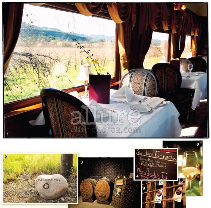 1 앤티크 기차 안에서 음식과 와인을 함께 즐기며 나파 밸리 와이너리를 돌아볼 수 있는 와인 트레인. 창밖으로 와이너리의 계절이 느껴진다. 2, 4 나파 와인의 대부, 로버트 몬다비 와이너리는 다양한 투어를 마련했다. 5 몬다비 와이너리 지하 저장고에 보관중인 빈티지 와인. 3, 6 스파클링 와인으로 유명한 슈램스버그 와이너리.