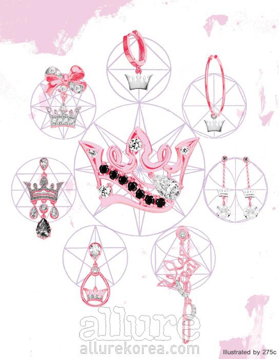 맨 위부터 시계방향으로 2004년, 2005년, 2006년, 2007년, 2008년, 2009년, 2010년, 가운데는 2011년 티아라 컬렉션 귀고리. 모두 제이에스티나.