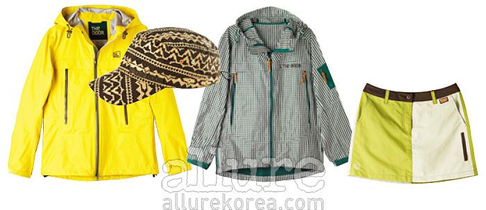 방수 재킷은 40만원대, 모자는 4만원대, 체크무늬 방풍 재킷은 가격미정, 스커트는 가격미정.