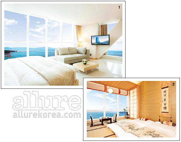 1. 모던한 디럭스 룸 2. 다다미를 깐 일본풍 객실