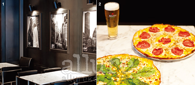 1. 모던한 분위기의 실내. 액자에 뉴욕을 담았다. 2. '피자에는 콜라'라는 등식은 무너진 지 오래다. 생맥주를 필히 맛볼 것.