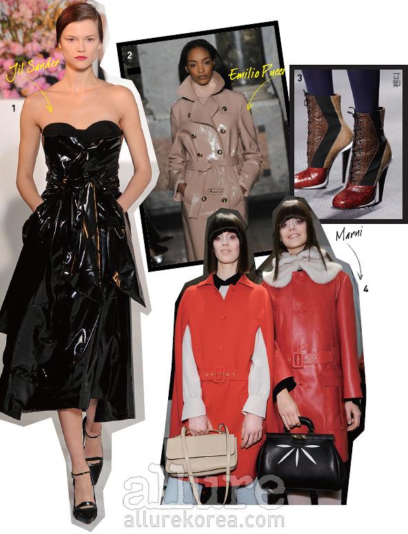 1. 가죽으로도 우아한이브닝 드레스를만들 수 있다는 것을증명한 질 샌더컬렉션. 2. 광택 가죽 소재가클래식한 트렌치코트의이미지를 모던하게바꾼다. 3. 다양한 가죽을패치워크한 부츠.4. 1960년대풍의 붉은색가죽 코트를 걸친마르니 모델.