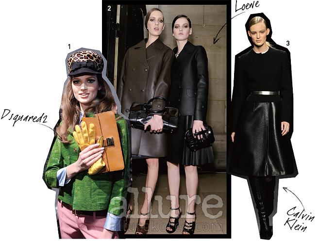 1. 컬러 가죽 의상의경쾌한 매력을 드러낸디스퀘어드2의 쇼. 2. 가죽의 묵직한 느낌을부각한 로에베의오버사이즈 코트와재킷. 3. 간결한 선과 만난캘빈 클라인의 가죽코트는 세련된 힘이넘친다.