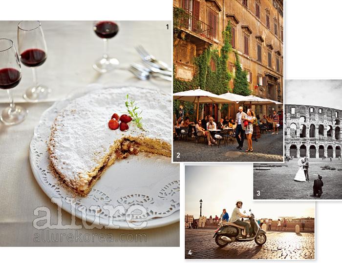 1 레스토랑 '아르만도 알 판테온'의 시그니처 디저트인'딸기로 속을 채운 리코타 파이'.2 '카페 델라 파체'는19세기부터 음식, 음료,대화를 즐길 수 있는로마인들의 메카로자리해왔다.3 콜로세움을 배경으로웨딩 사진을 촬영하는신혼 커플.4 아티스트의 그림, 또는작품을 파는 아티스트들,관광객들, 로마 시민들로가득한 트리니타 데이몬티 광장.