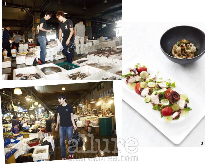 1, 2 익숙한 걸음으로 노량진 수산시장을 누비는 김미영 셰프. 3 복과 마를 곁들인전채 요리와 구운 문어 샐러드.
