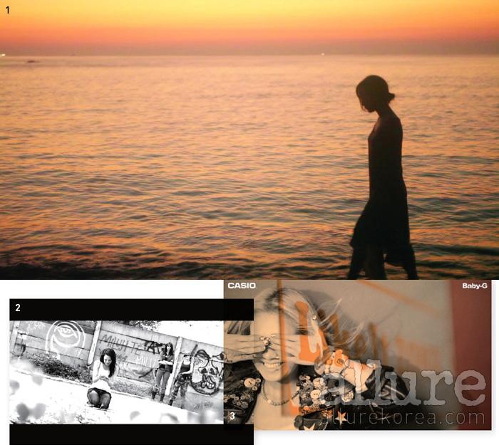 1. 단편영화 의 스틸 이미지. 2. 킴보가 참여한 칸 진출작 [Lea3]. 3. 카시오와 작업한 소녀시대 영상의 스틸 이미지