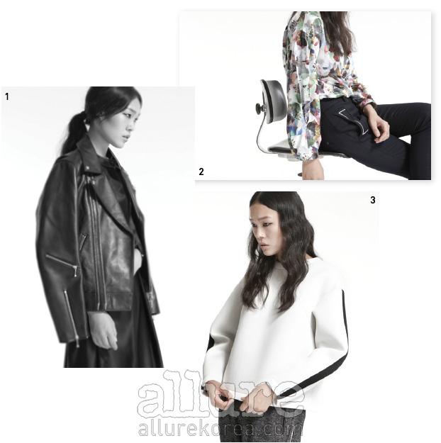 1. 소가죽 소재 라이더 재킷. 2. 그래픽 프린트의 블라우스와 팬츠. 3. 네오프린 소재의 톱
