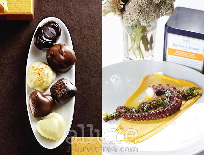 1. 식욕을 자극하는 고디바의 초콜릿2. 로네펠트 차를 넣어 만든 문어 요리
