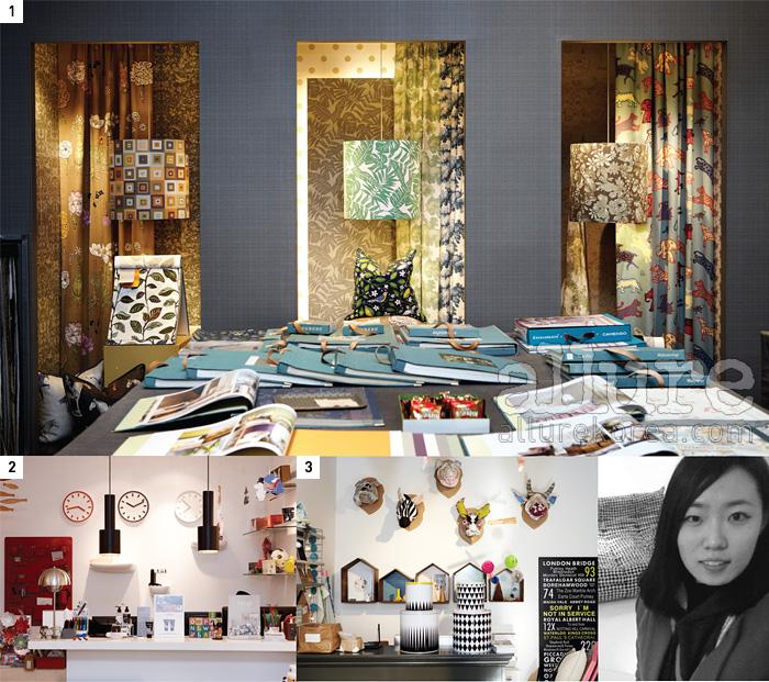 1 디자인 벽지와 패브릭이 가득한 다브. 소니아 리키엘과 장 폴 고티에, 비비안웨스트우드의 제품도 있다. 2 서래마을 골목에 자리한 루밍은 대표적인 리빙 디자인숍.3 짐블랑에서는 다양한 패턴을 활용한 소품과 북유럽 디자인 제품을 찾을 수 있다.