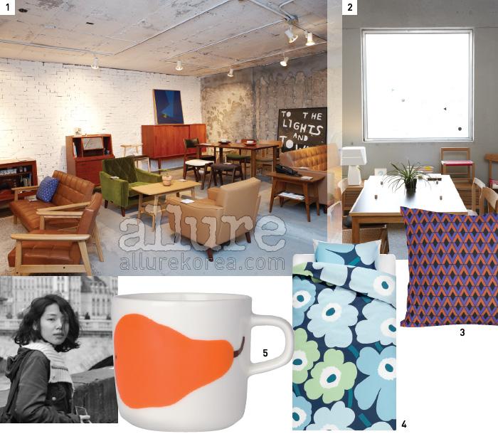 1 이태원 Mmmg 지하의 쇼룸에서 가리모쿠, 모벨랩 운영하는 블로그. 셀러브리티의 솔직한 공간이 있다.등 시간이 지나도 질리지 않는 다양한 가구를 볼 수있다. 2 국내 가구 디자이너 브랜드 아이네 클라이네.3 키티버니포니에는 포인트가 되는 패브릭 제품이많다. 4, 5 선명한 색감과 패턴으로 유명한 마리메코.
