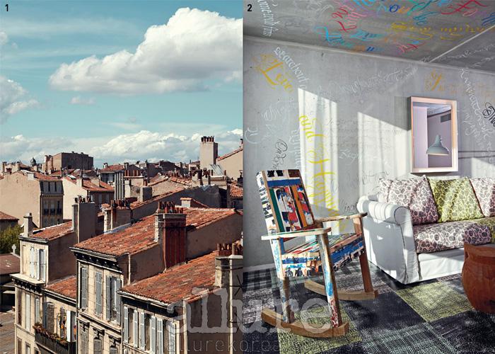 1 아기자기한 벽돌건물의 호텔 외관 2 감각적인 그래피티가 인상적인 레스토랑 내부