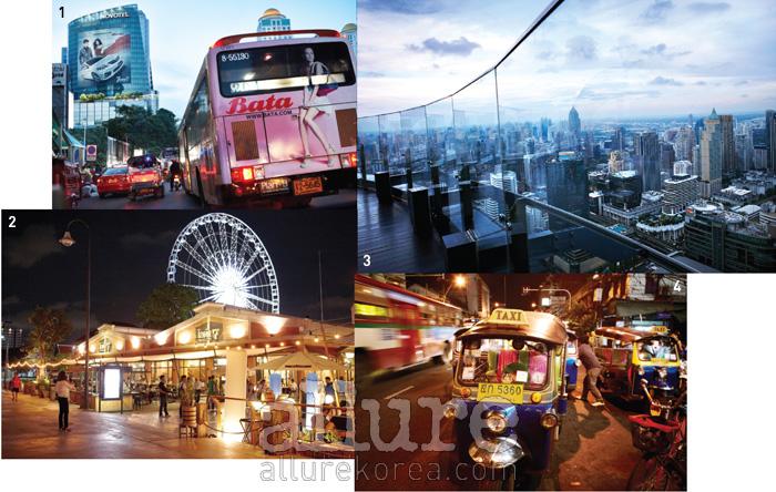1 러시아워와 함께 방콕의밤이 시작된다. 2 로맨틱한아시아티크의 밤. 3 방콕의밤을 내려다볼 수 있는센터라 호텔의 루프톱 바,레드 스카이. 4 태국의대표적인 교통수단, 툭툭.