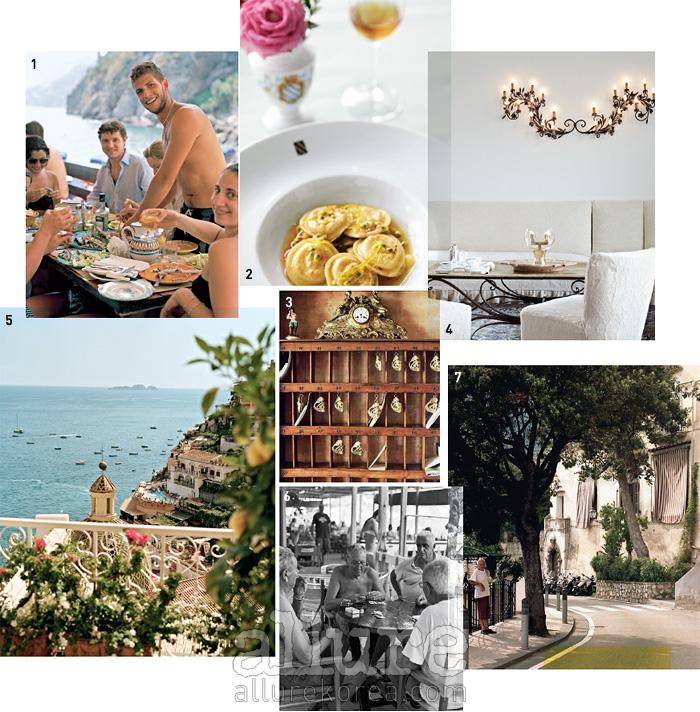 1 다 아돌포의 여유로운 점심 시간.2 르 사이레누스 호텔 식당의 라비올리.3 일 산 피에트로 호텔의 인어 모티브열쇠들. 4 일 산 피에트로 호텔의 절제된인테리어 스타일. 5 포지타노의 아름다운지붕들이 한눈에 내려다보이는 경치.6 라우리토 해변에서 카드 게임을 즐기는노인들. 7 프라이아노의 거리.