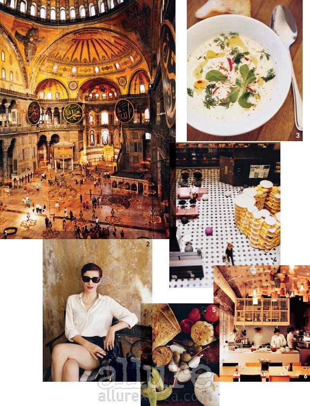 1 아야 소피아(Aya Sofya)는 세상에서 가장 매혹적인 건축물이다. '성스러운 지혜'라는 뜻의대성당은 현재는 박물관으로 변신했다. 2 베욜루는 이스탄불에서 가장 트렌디한 거리다.베욜루의 힙 플레이스, 카페 카라바탁(Karabatak)에서 만난 디자이너 에멜 쿠르한. 3 인기만점인프랜차이즈 레스토랑 체인인 하우스 카페에서 맛볼 수 있는 요거트 수프. 4 베욜루의 신축문화터인 살트 갈라타(Salt Galata)의 웅장한 도서관.5 터키 디자이너들에게 대리석, 구리,그리고 자개로 장식한 원목 가구가 있다면, 터키 요리사들에게는 석류 소스, 화이트 치즈, 그리고향신료가 있다. 지한기르에서 만난 터키식 지중해 요리. 6 푸드 바 그람의 다이닝룸.
