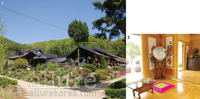1 잘 가꿔놓은 텃밭과 정원이 눈을즐겁게 한다. 2 시원한 바람이 관통하는객실의 모습.
