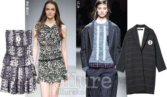1 실크 소재 드레스는 가격미정, 이자벨 마랑×H&M(Isabel Marant×H&M). 2 모직 소재 코트는 49만9천원, N°21×지컷(N°21×G-cut).