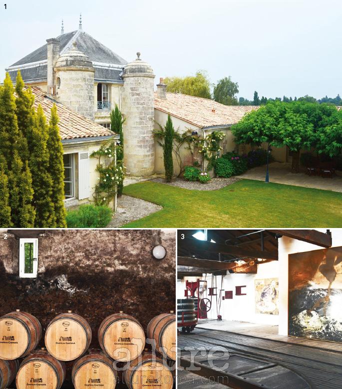 1 그랑 크뤼 2등급인 린슈 바주에서 소유한 코르데이양 바주 호텔. 장-뤽 로샤의 미슐랭 2스타 레스토랑도 여기있다. 23 오래된 와이너리 중 하나인 샤토 카스테라의 와인 저장고. 3 린슈 바주에서는 과거 양조 시설을 그대로 보존해 갤러리로 쓰고 있다.