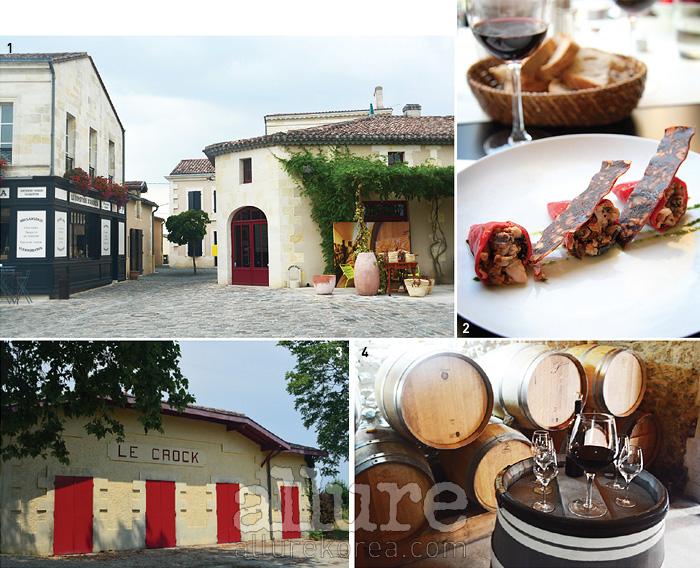 1 둘러보기 좋은 바주 마을. 다양한 셀렉트숍과 식료품점이 있다. 2 보르도 시내 오페라 극장에 위치한 카페 오페라의 전채 요리. 3 언덕 위에서 호수를 내려다보는 샤토 르 크록의 와인 저장고. 4 샤토 줄리아의 작은 와인 저장고에서의 와인 테이스팅 시간.