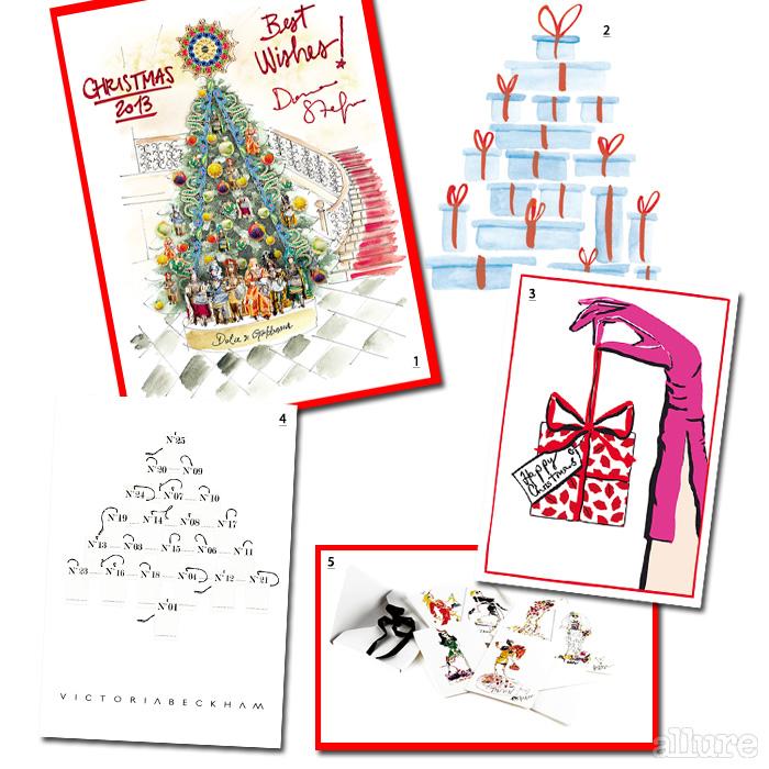 1 클라리지 호텔에 장식될 돌체앤가바나의 크리스마스트리 2 포장 박스로 만든 크리스마스트리를 그린 티파니 3 1년 동안 선보인 제품들의 태그로 트리를 만든 빅토리아 베컴 4 크리스마스 선물을 전달하는 손을 그린 루루 기네스의 카드 5 6가지 종류로 선보인 랑방의 미스 랑방 카드