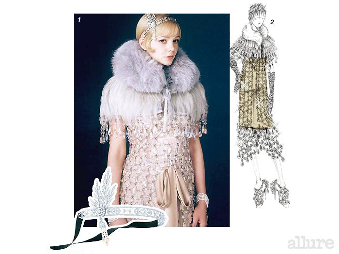 1 프라다 의상과 티파니의 티아라를 착용한 캐리 멀리건 2 미우치아 프라다는1920년대의 실루엣에 크리스털을 장식해 화려한 드레스를 만들었다 3 브릴리언트 컷 다이아몬드와 진주로 장식한 깃털 장식은 브로치로도 활용할 수 있다.