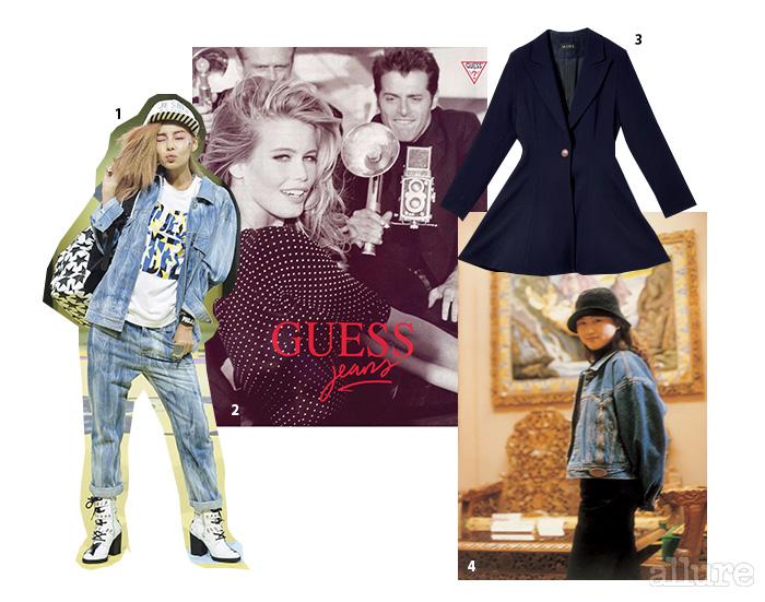 1 90년대 초반 스트리트 무드를 담아낸 2014년 봄/여름 럭키 슈에트 컬렉션. 2 당대 가장 섹시한 모델을 캐스팅했던 게스걸 광고. 3 90년대 초반에 구입해 지금까지 입는 지향미의 마인 코트. 4 청재킷을 즐겨 입던 지향미의 90년대 모습
