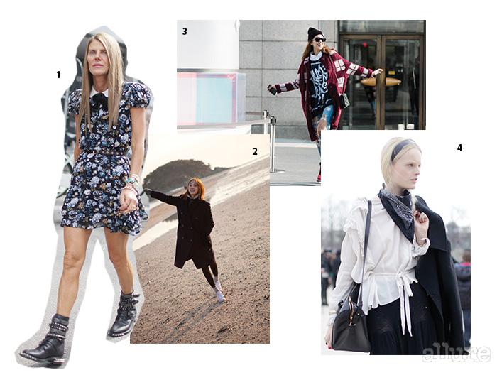1 스트리트 패션 신의 슈퍼스타 안나 델로 루소. 2 거의 매일 레깅스를 입었던 고소현의 20살 시절. 3 하이톱, 그래픽 티셔츠, 비니 등 트렌디한 패션 아이템을 멋지게 소화한 이호정. 4 유니크한 스타일로 패션 블로거들의 표적이 되는 모델 한느 개비