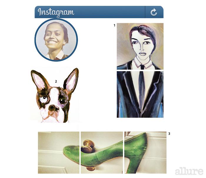 1 사샤 베일리((Sascha Bailey)를 그린 그림 2 짝짝이 눈의 강아지. 3 문고리에 걸린 녹색 구두.