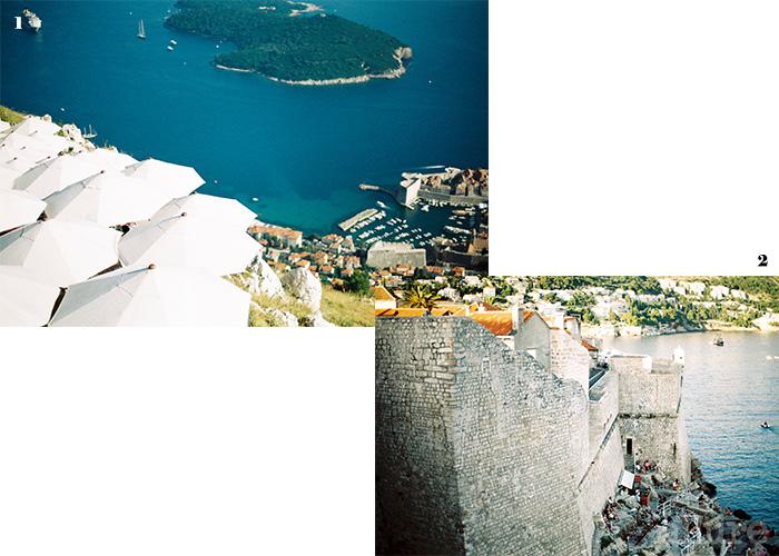1 스르지산에 올라 바라 본 아드리아해의 풍경. 2 두브로브니크 성벽에 자리한 부자카페