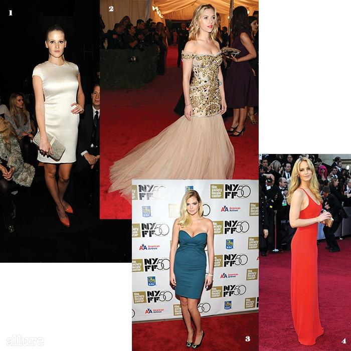 건강하고 균형 잡힌 몸매로 섹시 아이콘이 된 네 명의 뮤즈들. 1 모델 라라 스톤. 2 영화배우 스칼렛 요한슨. 3 모델 라라 스톤. 4 영화배우 제니퍼 로렌스.